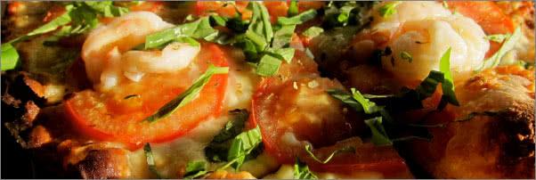 Socca Shrimp Heirloom Tomato Pizzette